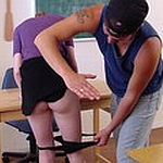 Teacher spanks pupil